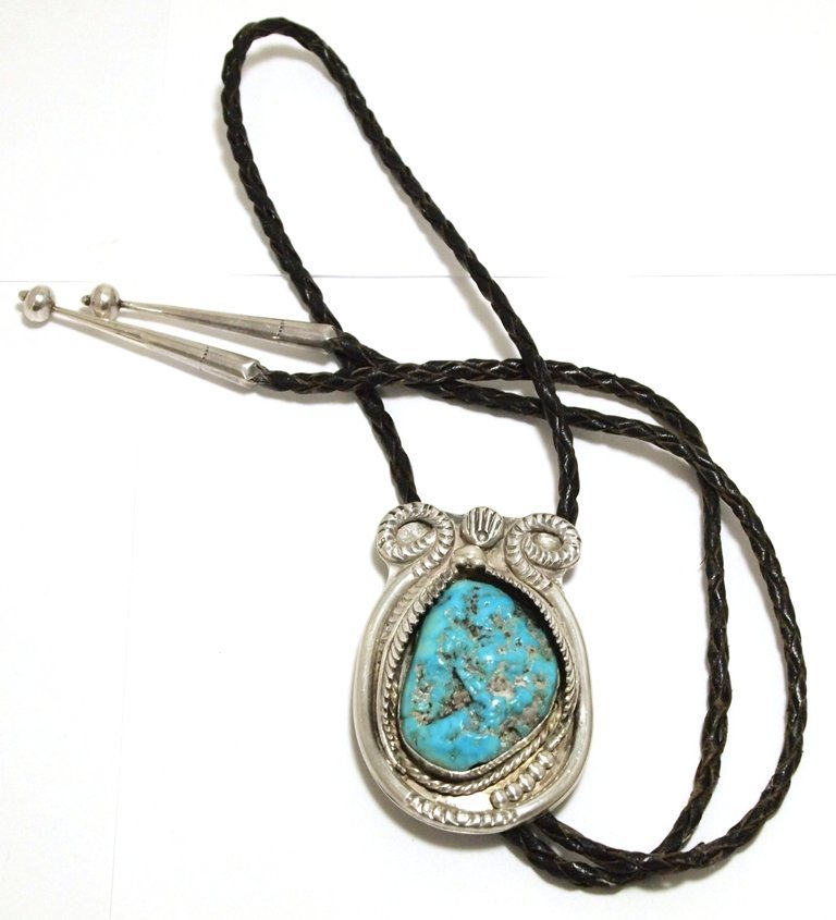 Vintage Old Pawn Navajo Turquoise Sterling Silver Bolo