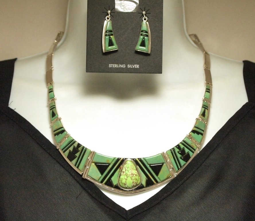 Carico Lake & Onyx Sterling Silver Necklace & Earrings
