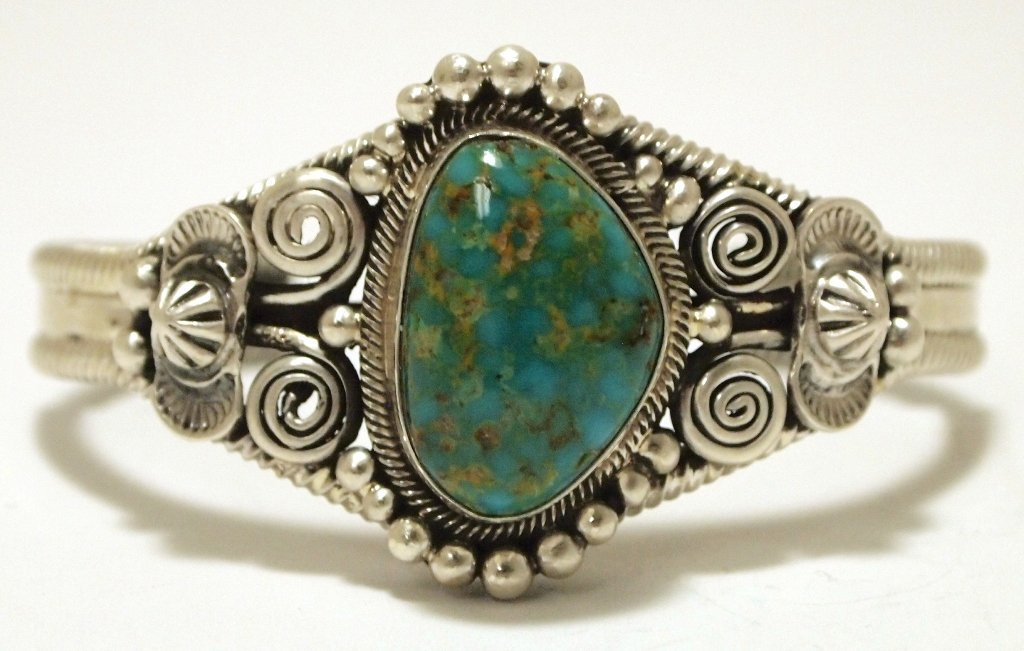 Old Pawn Navajo Royston Turquoise Sterling Silver Cuff