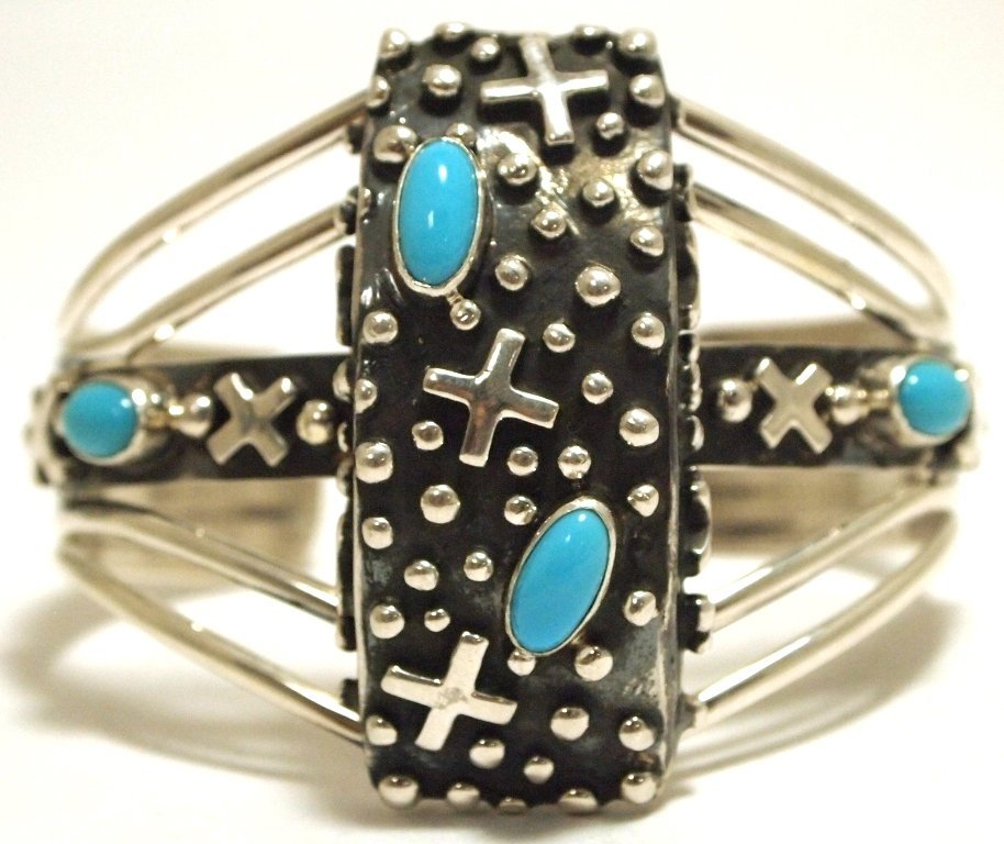 Navajo Turquoise Sterling Silver Crosses Cuff Bracelet