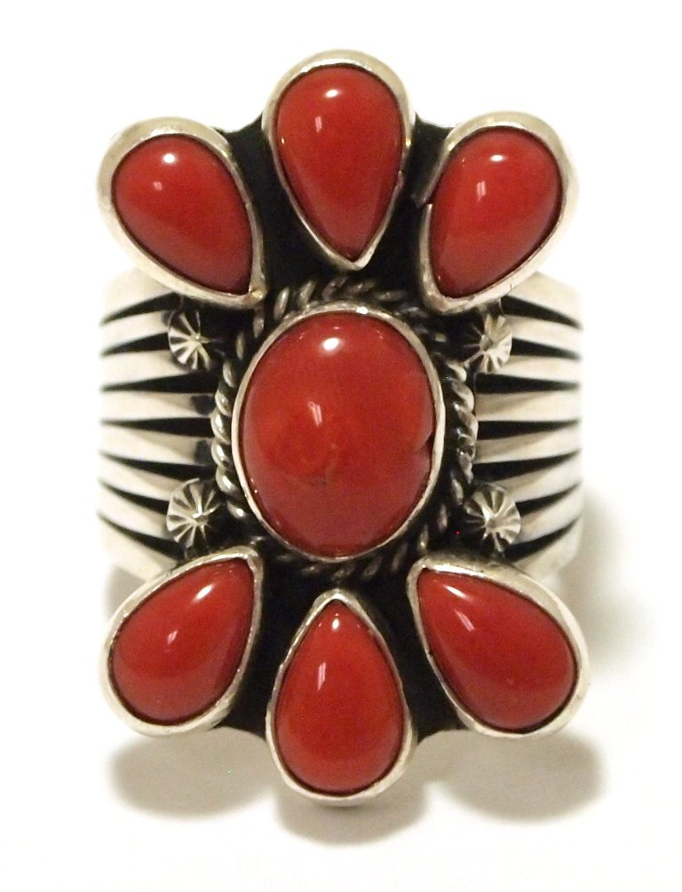 Navajo Coral Sterling Silver Women's Ring - Derrick