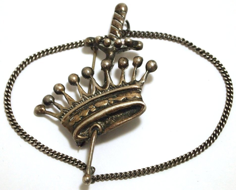 Pre-Owned Sterling Silver Crown & Sword Pin with Chain