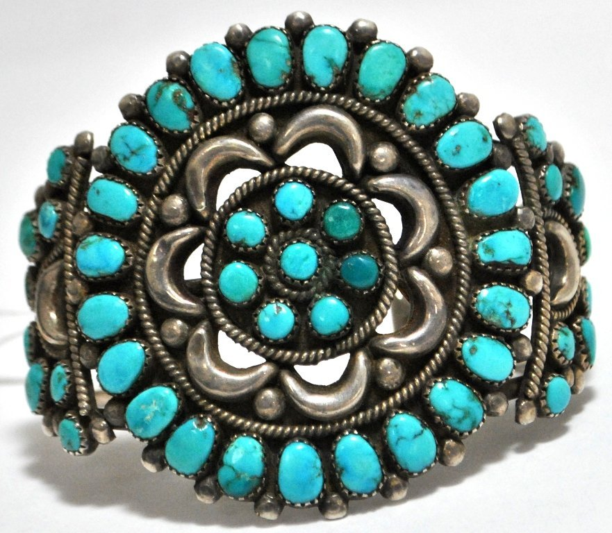 Vintage Old Pawn Turquoise Needlepoint Sterling Silver