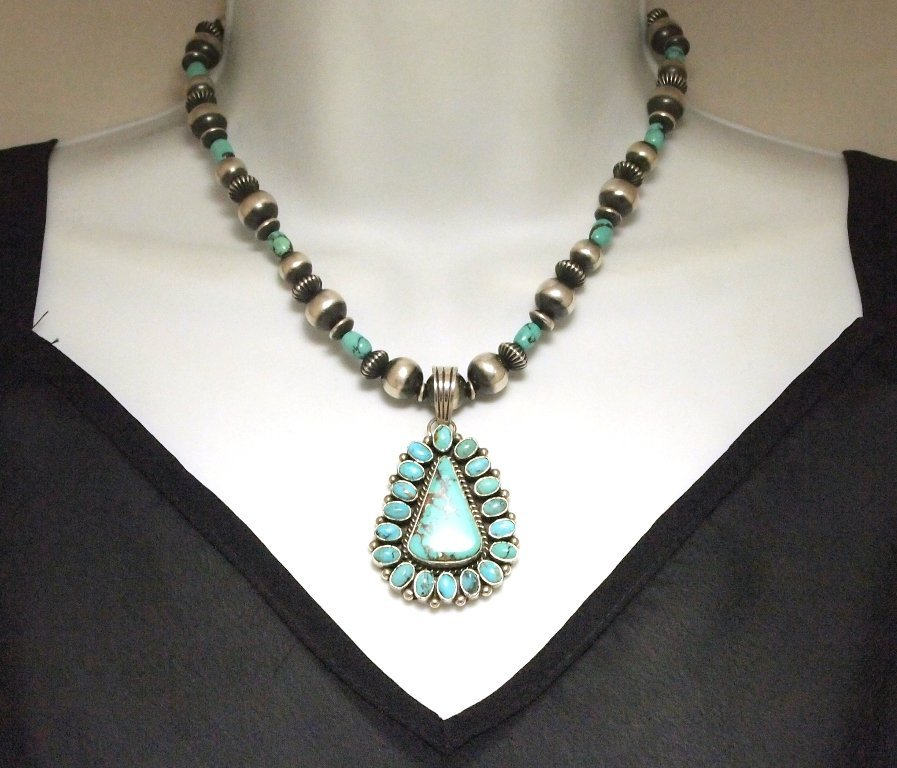 Navajo Lone Mountain Turquoise Sterling Silver Necklace
