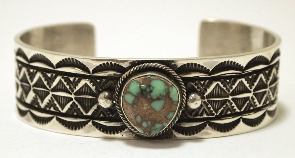 Old Pawn Navajo Denali Turquoise Sterling Silver Cuff