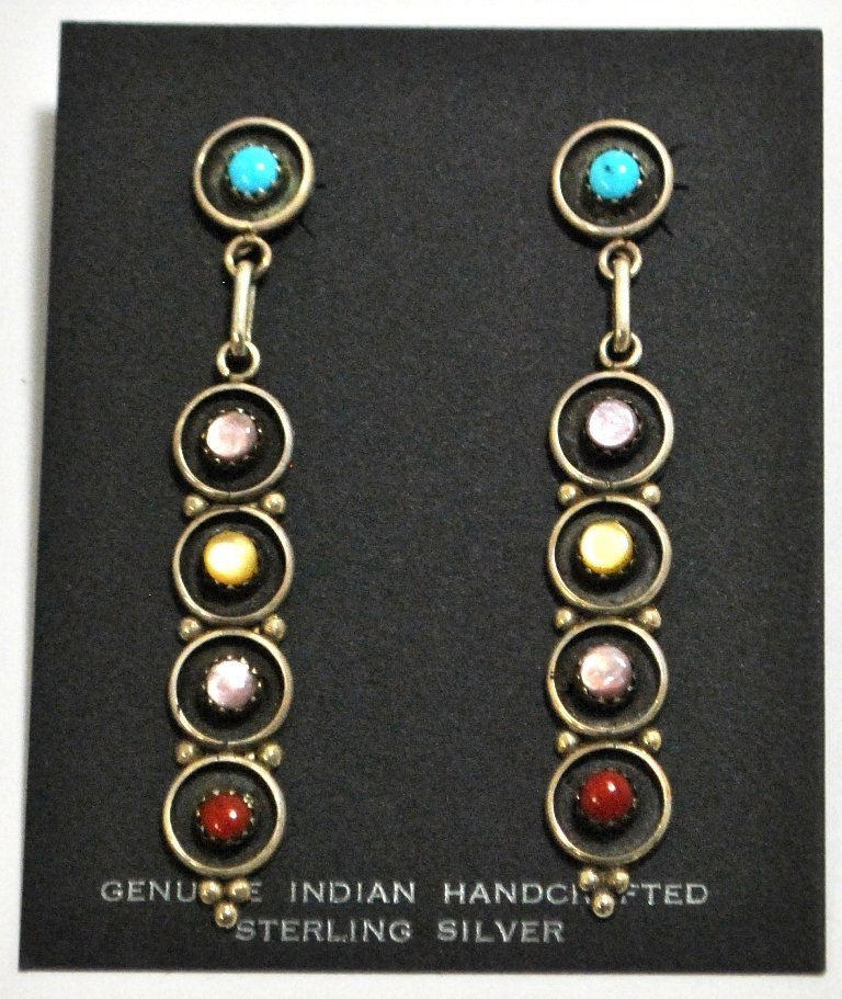 Zuni Multi-Stone Sterling Silver Post Earrings - Fred