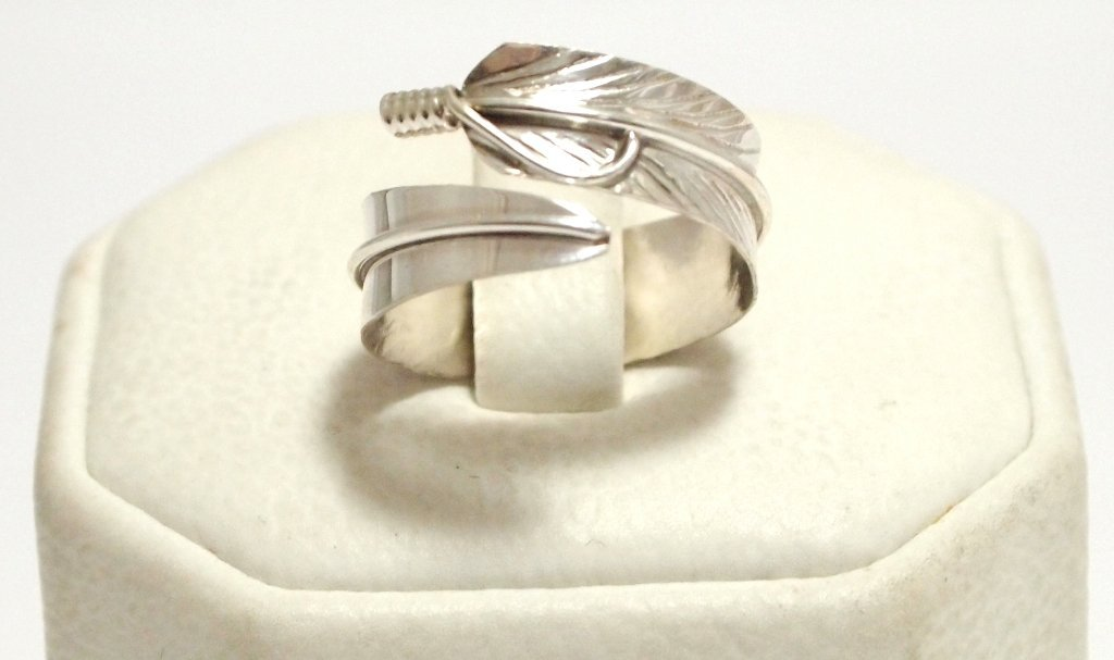 Navajo Sterling Silver Feather Adjustable Women's Ring