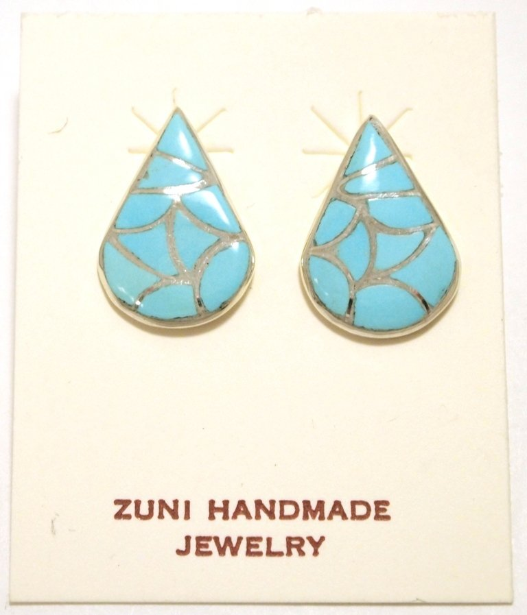 Zuni Turquoise Inlay Sterling Silver Post Earrings -