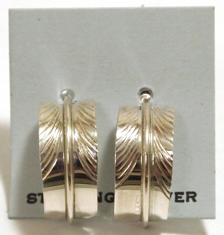 Navajo Sterling Silver Feather Post Earrings - Chris
