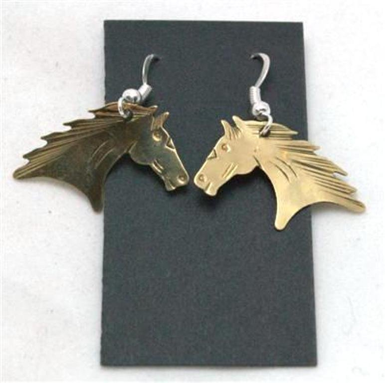 Navajo Pressed Horse Head Brass Earrings - Virgil