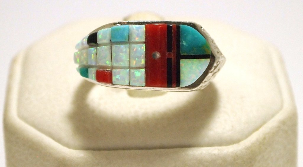 Navajo Multi-Stone Sun Face Sterling Silver Men's Ring