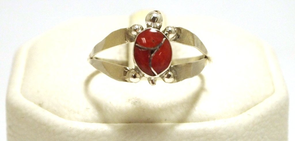 Zuni Coral Inlay Sterling Silver Small Turtle Women's