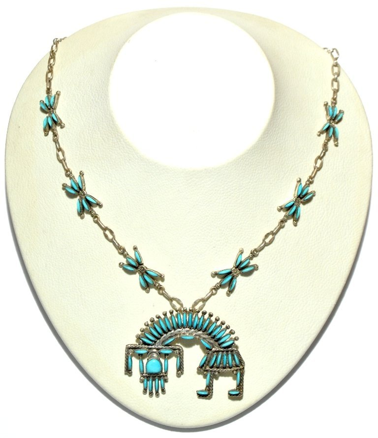 Zuni Turquoise Rainbow Kachina Necklace - Hugh & Agnes