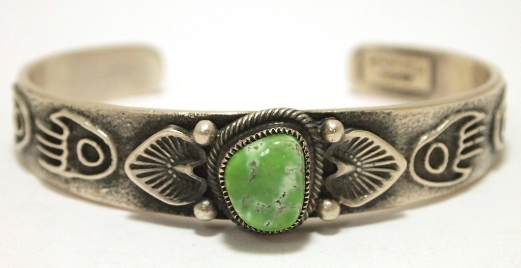 Old Pawn Navajo Carico Lake Turquoise Sterling Silver