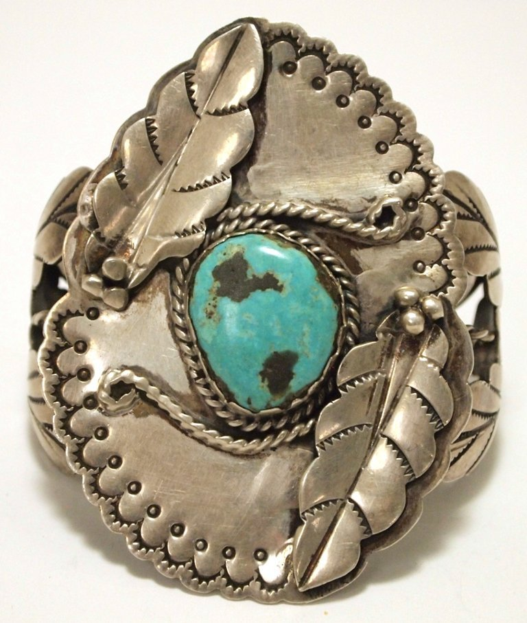 Vintage Old Pawn Navajo Turquoise Sterling Silver Cuff