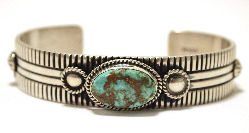 Navajo Kingman Turquoise Sterling Silver Cuff Bracelet