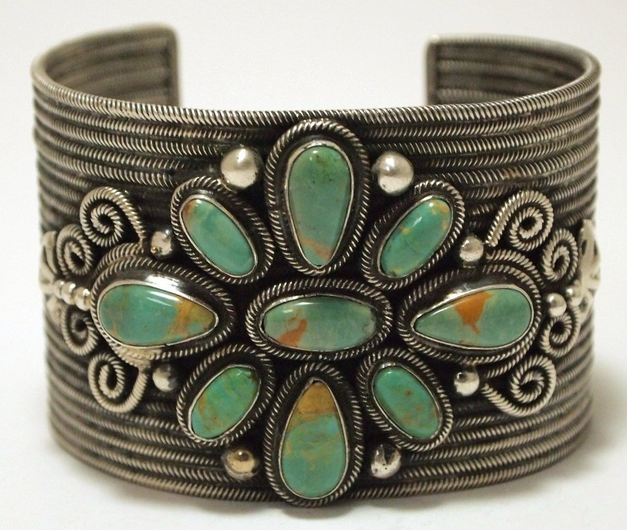 Old Pawn Navajo Green Fox Turquoise Sterling Silver