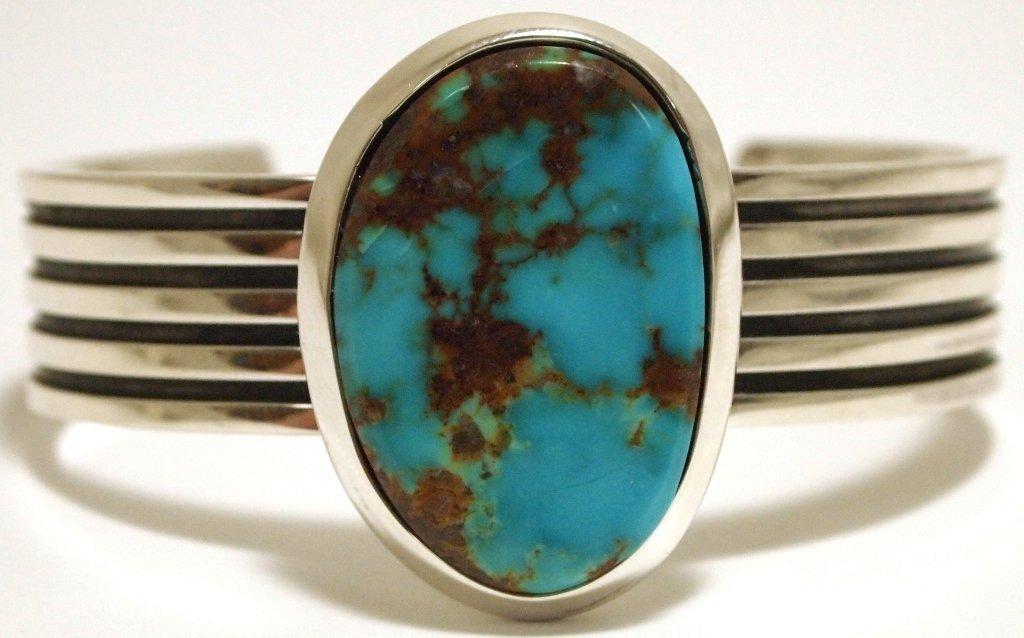 Zuni Mountain Turquoise Sterling Silver Cuff Bracelet -