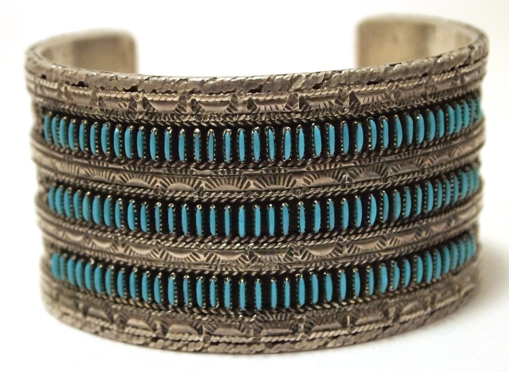 Vintage Old Pawn Zuni Turquoise Petit Point Sterling
