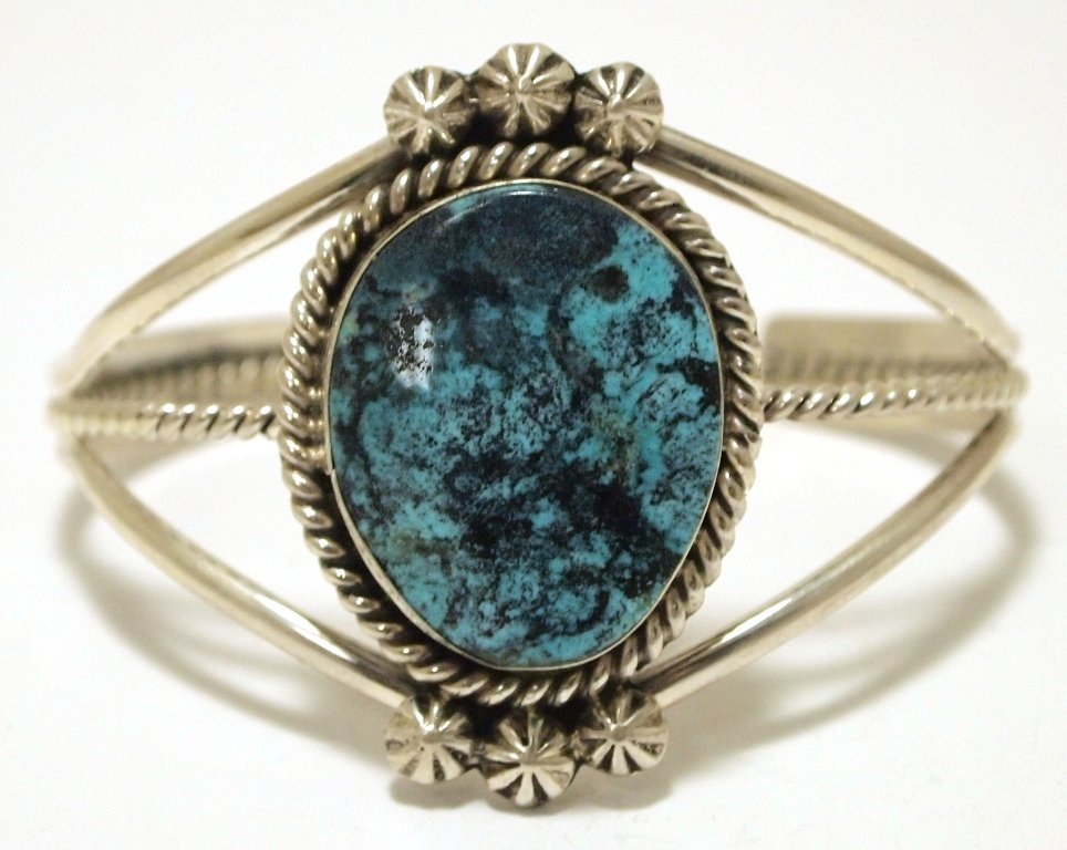 Old Pawn Navajo Pilot Mountain Turquoise Sterling