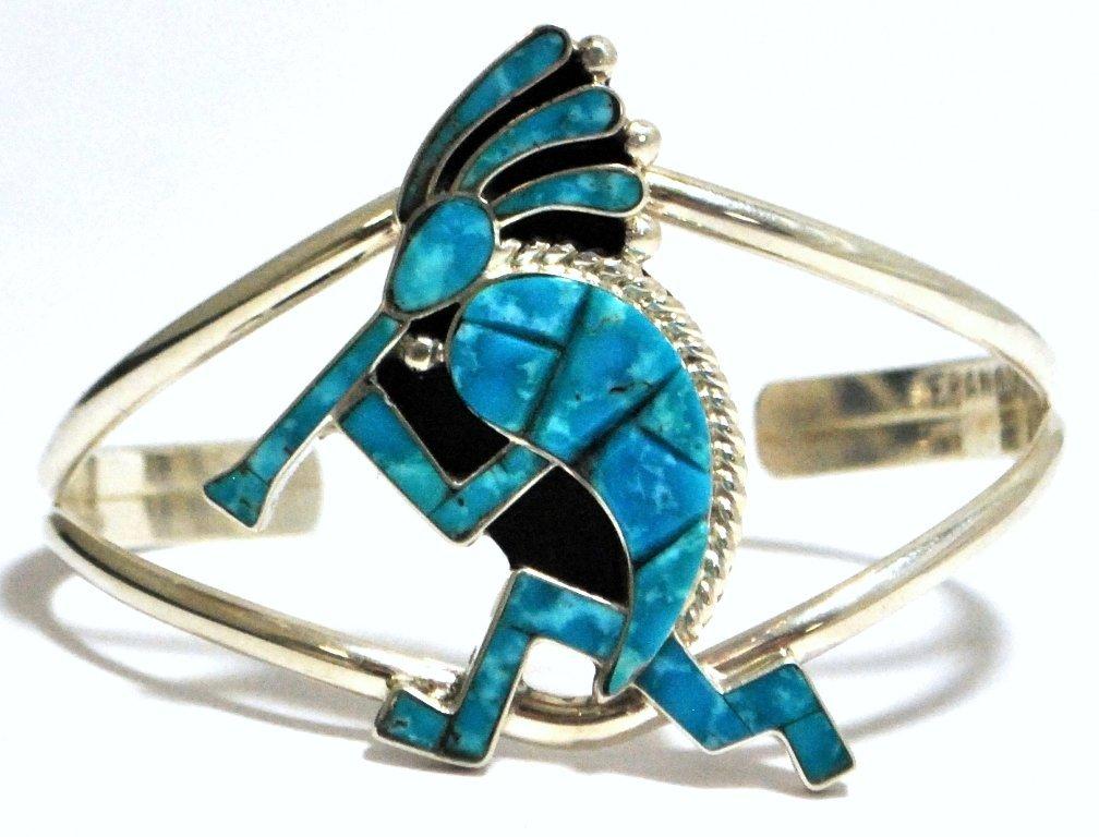 Navajo Turquoise Inlay Kokopelli Silver Cuff Bracelet -