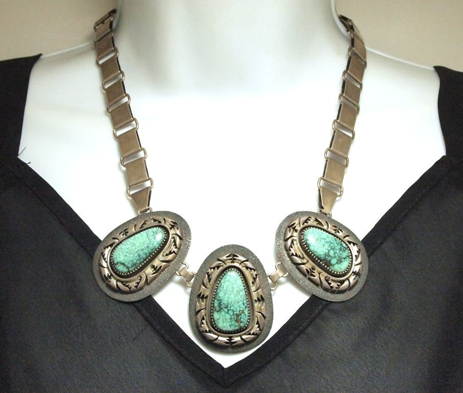Old Pawn Navajo Spider Web Kingman Turquoise Sterling