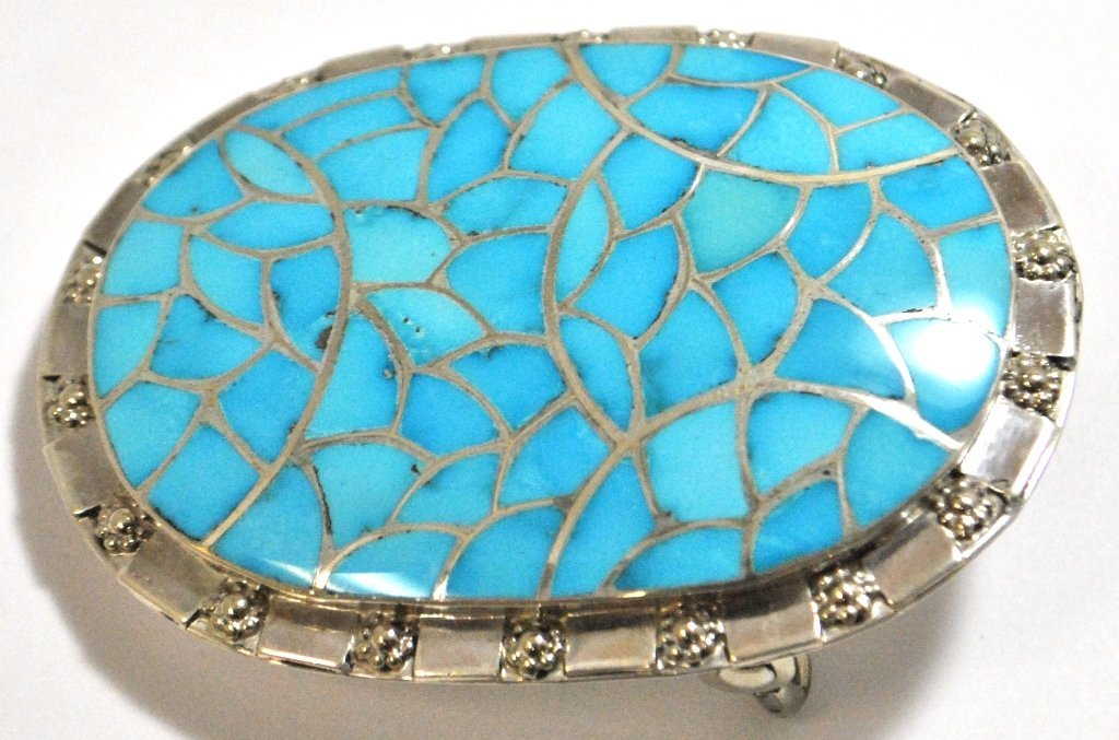 Zuni Turquoise Inlay Sterling Silver Buckle -