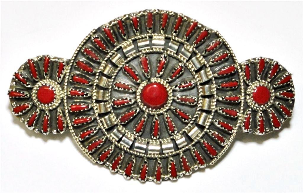 Navajo Coral Cluster Sterling Silver Hair Barrette -