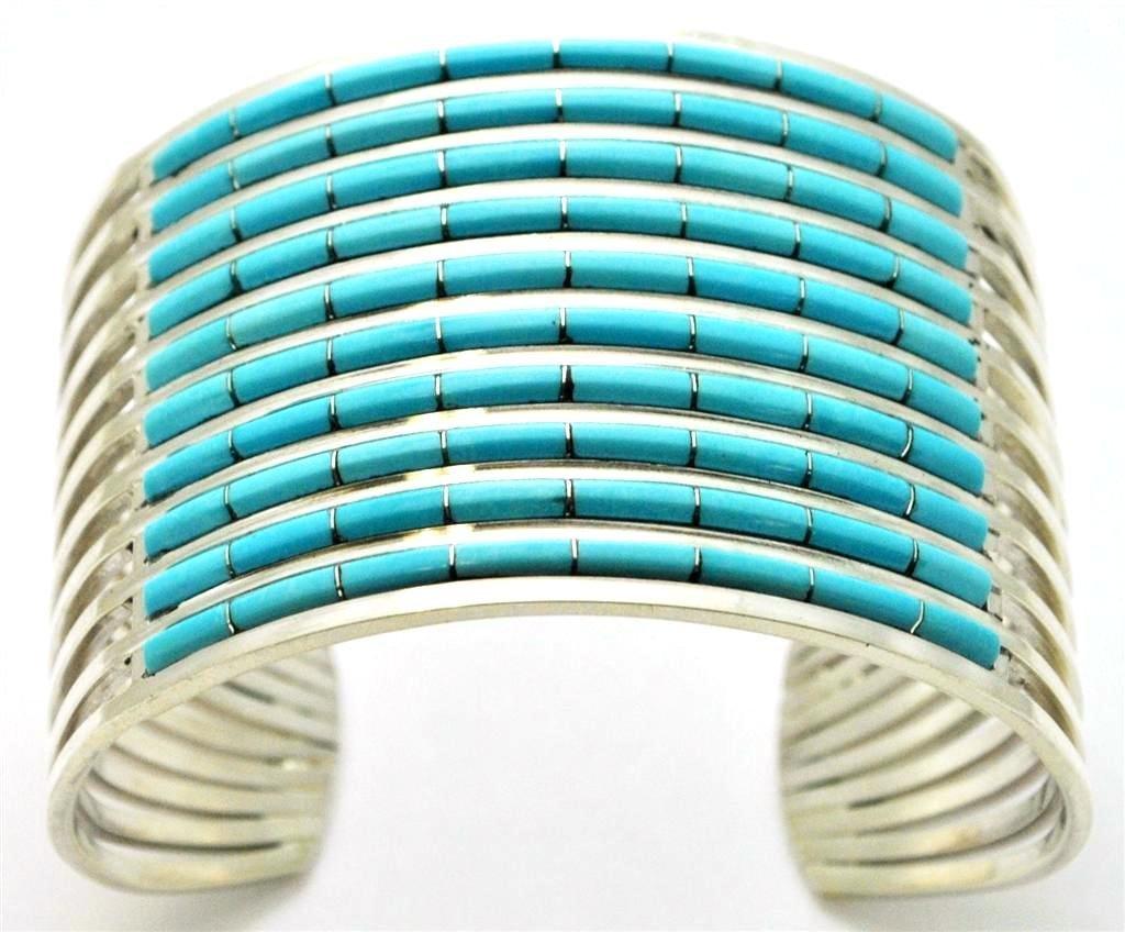 Zuni Turquoise Sterling Silver Cuff Bracelet - Anselm