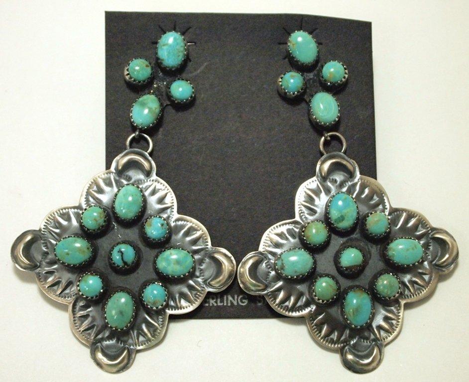 Navajo Turquoise Sterling Silver Post Earrings - Albert