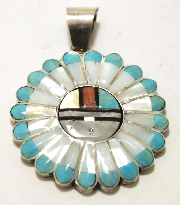 Zuni Multi-Stone Inlay Sun Face Sterling Silver Pendant