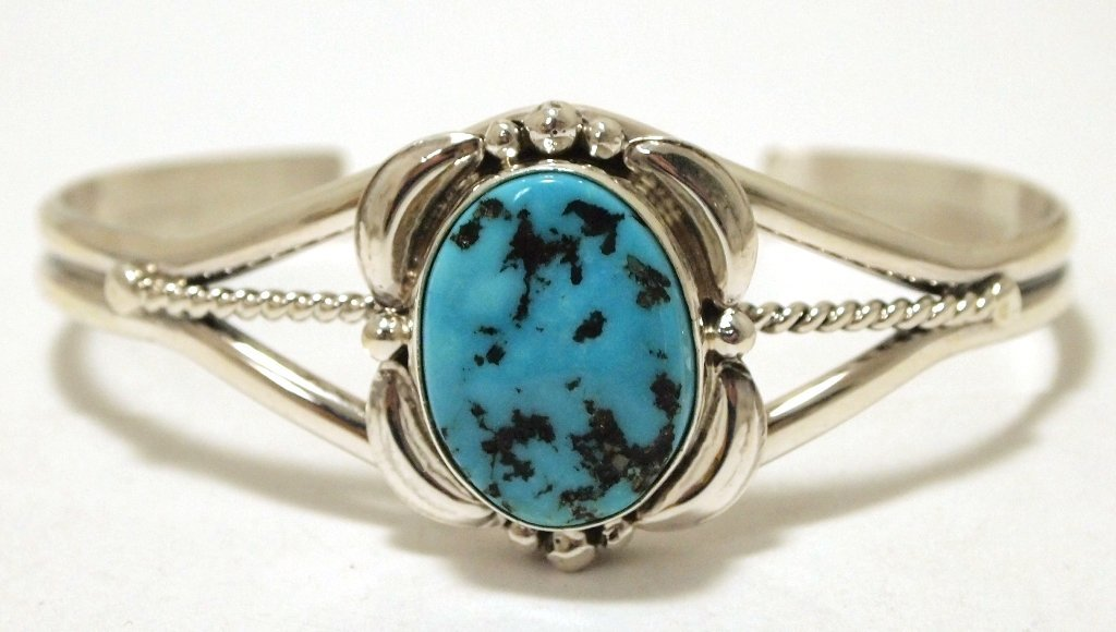 Navajo Sleeping Beauty Turquoise Sterling Silver Cuff