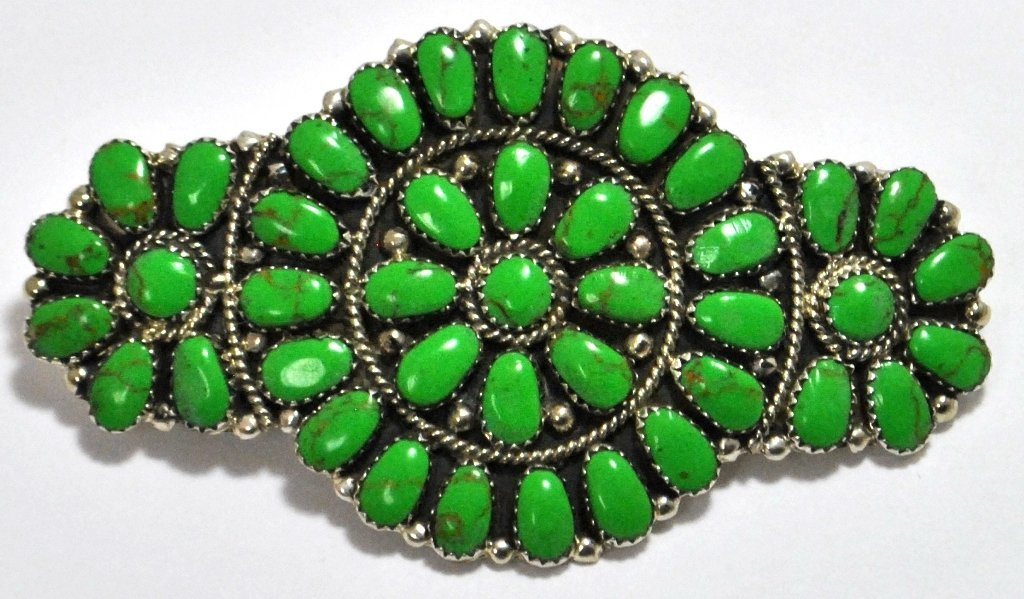 Navajo Green Turquoise Cluster Sterling Silver Hair