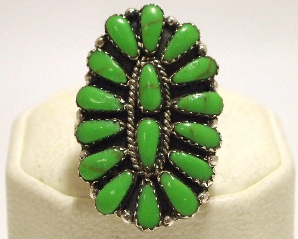 Navajo Green Turquoise Cluster Sterling Silver Women's