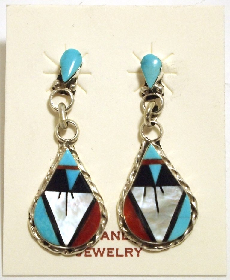 Zuni Multi-Stone Inlay Sterling Silver Post Earrings -