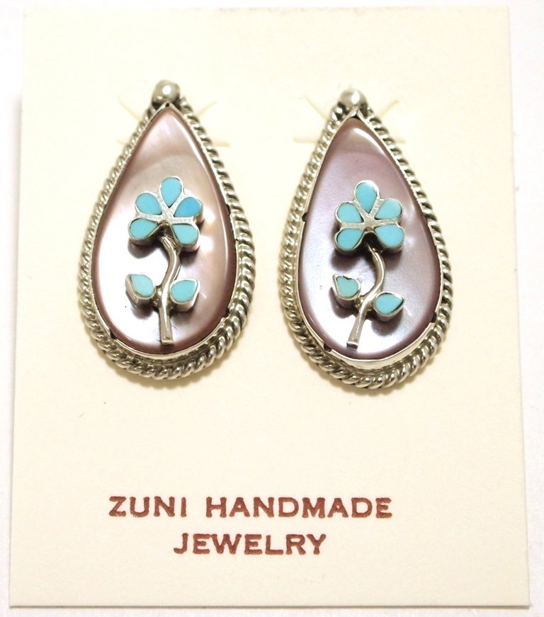 Zuni Mother of Pearl & Turquoise Inlay Flower Sterling