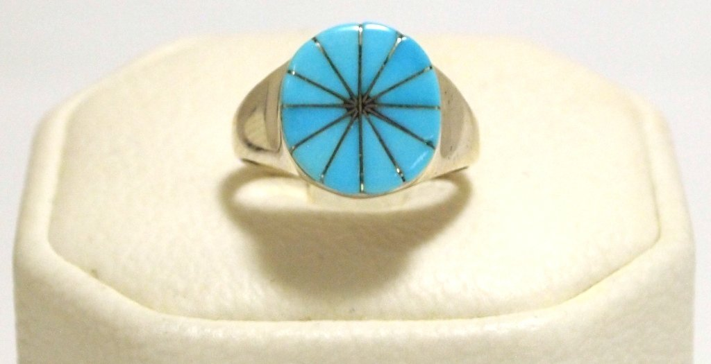 Zuni Turquoise Inlay Sterling Silver Women's Ring -