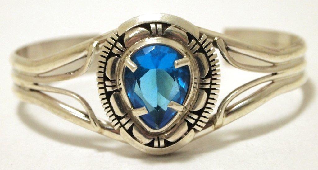 Navajo Topaz Sterling Silver Cuff Bracelet - Eugene