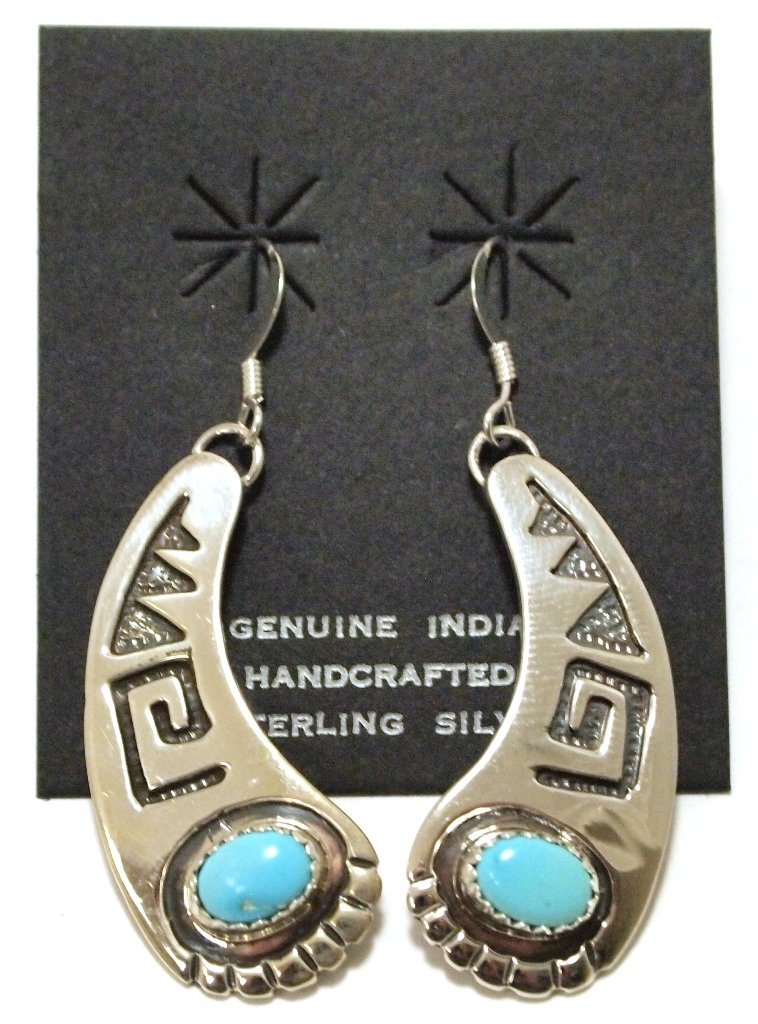 Navajo Turquoise Sterling Silver French Hook Earrings -