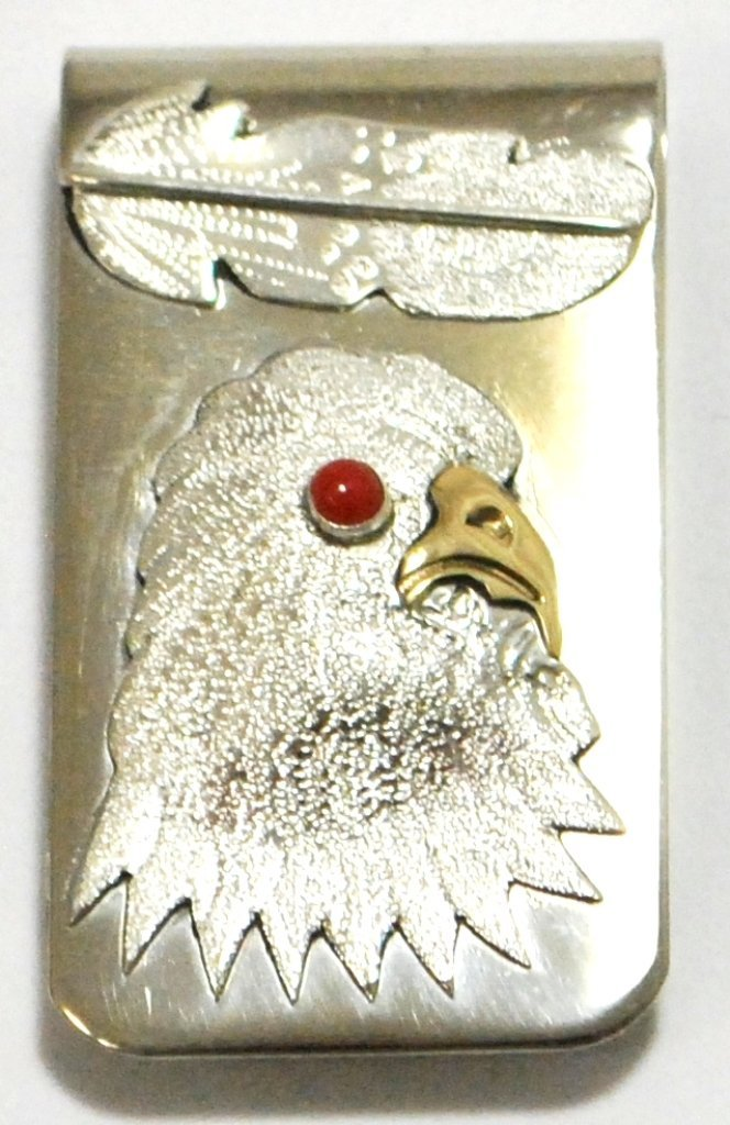 Navajo Coral & Brass Eagle Head Sterling Silver Money