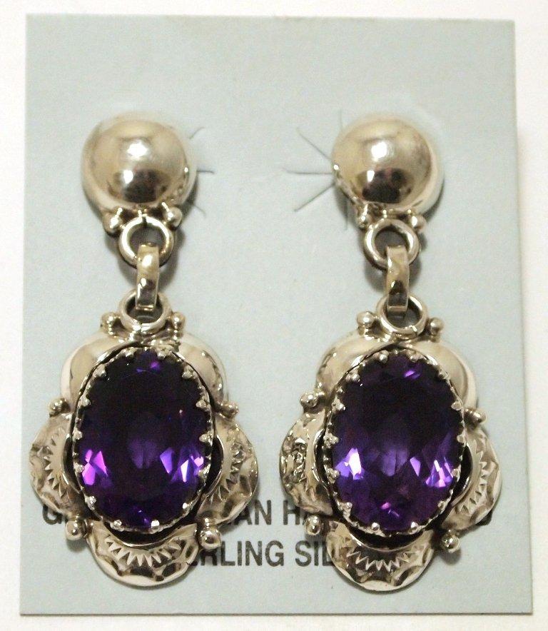 Navajo Amethyst Sterling Silver Post Earrings - Clem