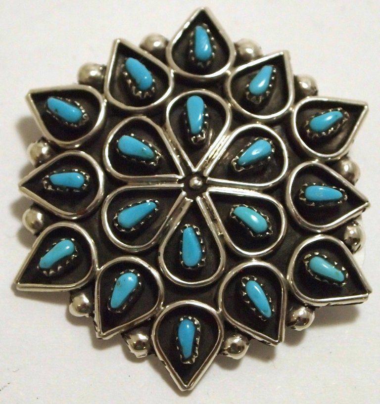 Zuni Turquoise Needlepoint Sterling Silver Pendant &