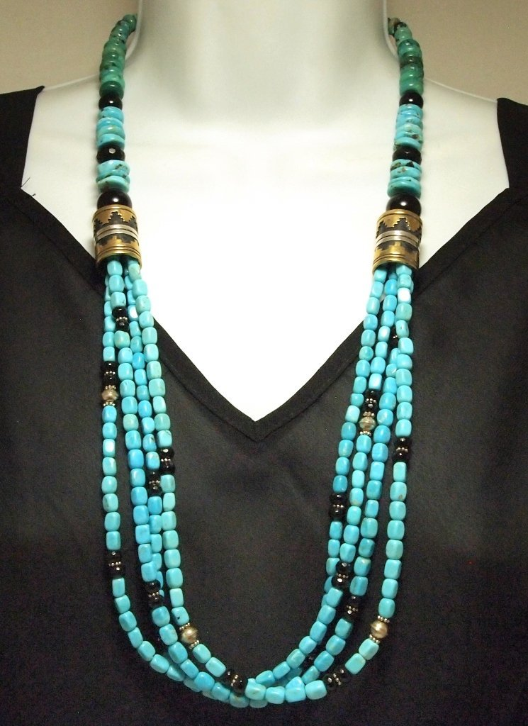 Navajo Turquoise & Onyx 28 4-Strand Necklace - Tommy