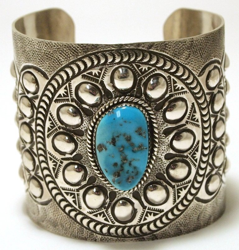 Navajo Turquoise Sterling Silver Tall Cuff Bracelet -