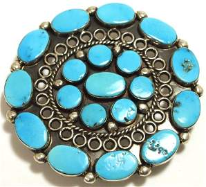 Old Pawn Zuni Sleeping Beauty Turquoise Sterling Silver
