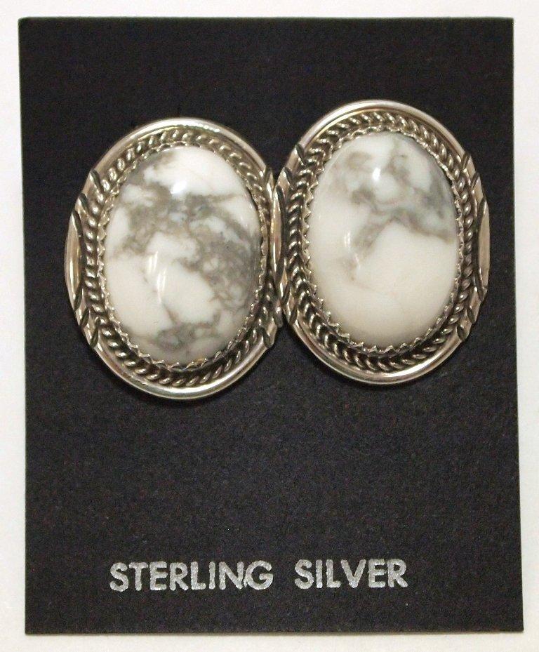 Navajo Howlite Sterling Silver Post Earrings - Herman