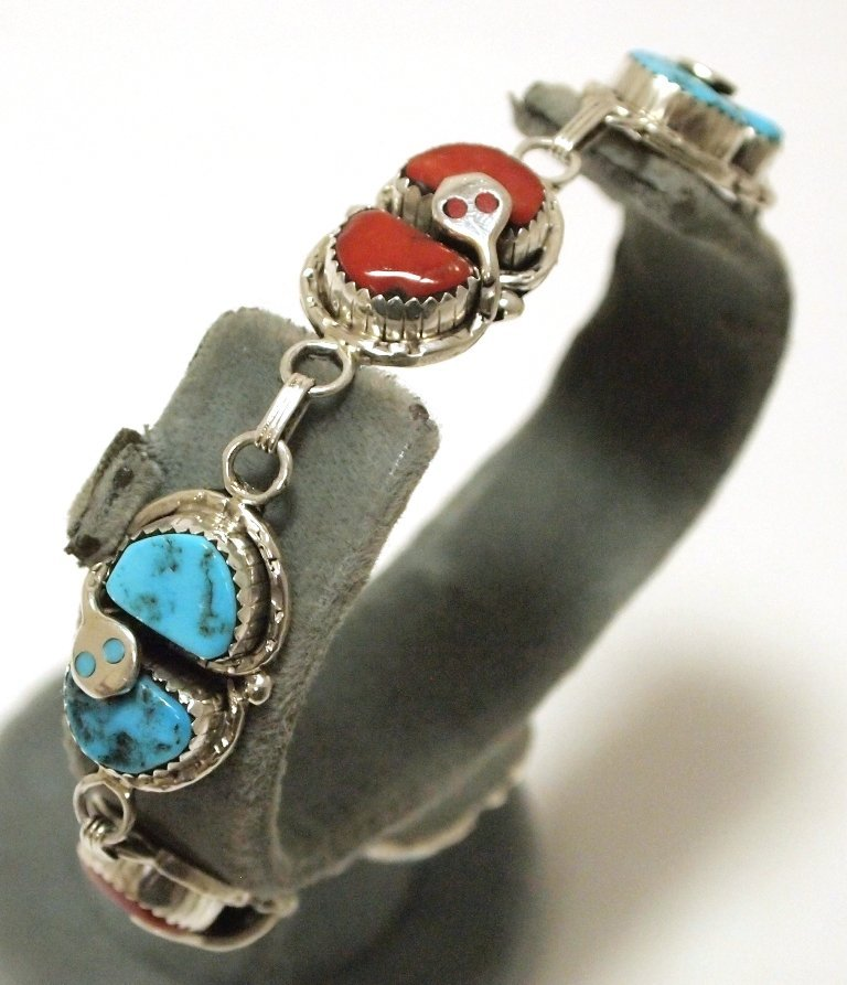 Zuni Coral & Turquoise Sterling Silver Snake Wide Link
