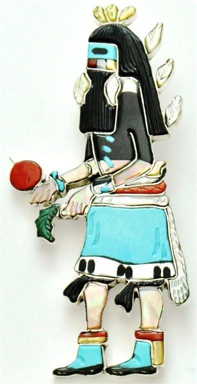 Zuni Multi-Stone Male Rain Dancer Pendant & Pin -