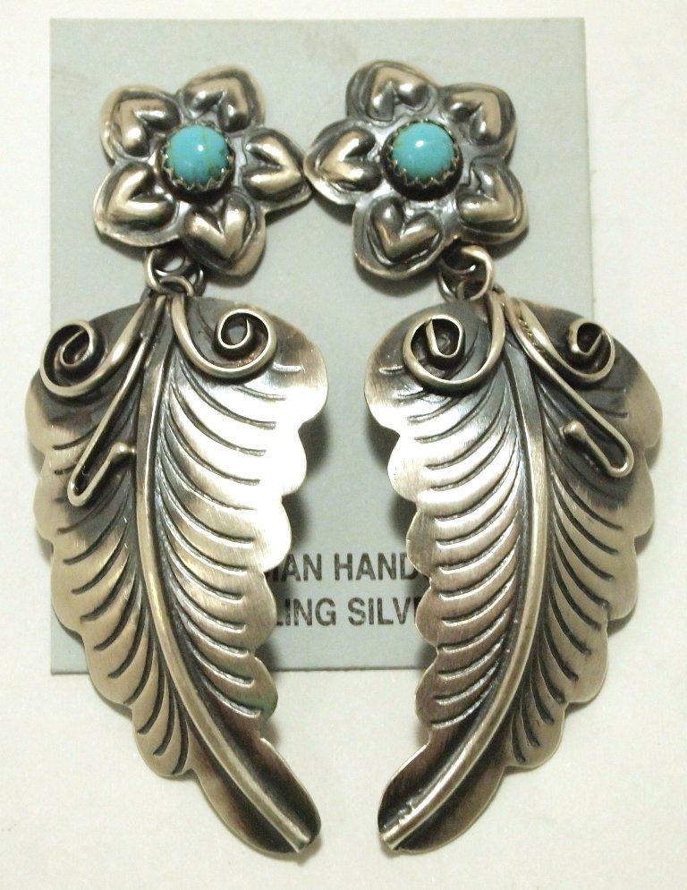 Navajo Turquoise Sterling Silver Flower & Leaf Post