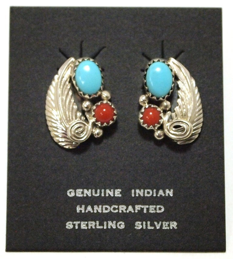 Navajo Coral & Turquoise Sterling Silver Post Earrings